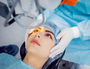 Woman getting laser eye surgery